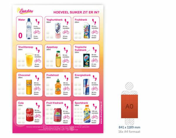 Overzichtsbord suiker per drankje